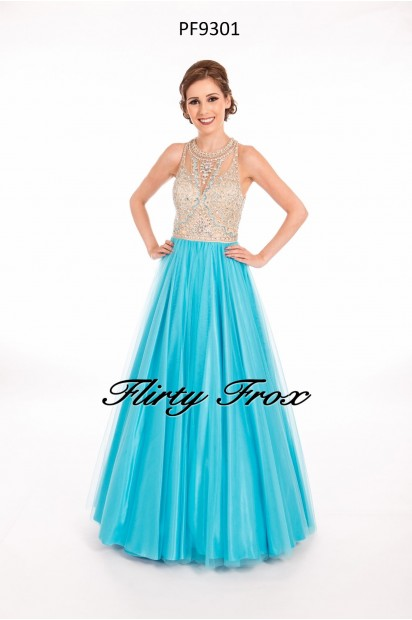 Prom Frocks PF9301 Turquoise Nude